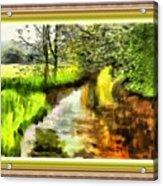 Expressionist Riverside Scene L B With Alt. Decorative Printed Frame.  Acrylic Print