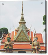Exquisite Details On The Building Of Wat Arun In Bangkok, Thailand Acrylic Print