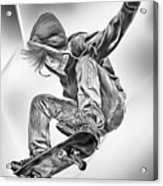 Extreme Skateboard Jump Acrylic Print by Julie L Hoddinott
