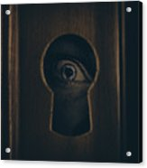 Eye Looking Through Door Keyhole Acrylic Print