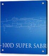 F-100d Super Sabre Blueprint Acrylic Print