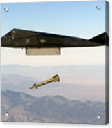 F 117 Nighthawk Engages Its Target And Drops A Gbu 28 Guided Bomb Acrylic Print