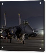 F-15e Leaving For A Night Mission Acrylic Print