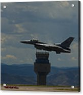 F-16 And Tower Acrylic Print