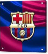 F. C. Barcelona - 3D Badge over Flag Acrylic Print