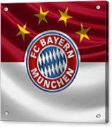 F C Bayern Munich - 3 D Badge Over Flag Acrylic Print