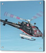 F-gsdg Eurocopter As350 Helicopter In Blue Sky  Acrylic Print