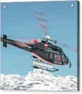 F-gsdg Eurocopter As350 Helicopter Over Mountain Acrylic Print