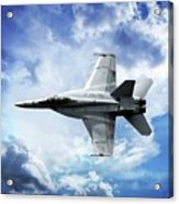 F18 Fighter Jet Acrylic Print by Aaron Berg