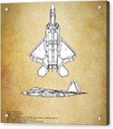 F22 Raptor Blueprint Acrylic Print