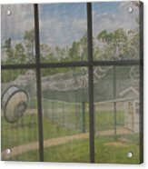 Prison Yard With Razor Wire, Guard House And Satellite Dish Acrylic Print