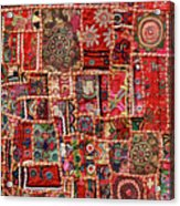Fabric Art - Patch Work Acrylic Print by Milind Torney