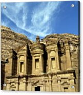 Facade Of Ad Deir An Ancient Rock-cut Monastery In Petra Acrylic Print