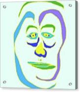 Face 5 On Light Blue Acrylic Print