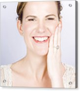 Face Of A Smiling Bride With Perfect Makeup Acrylic Print