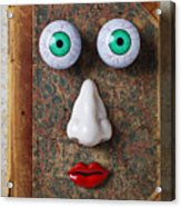 Facebook Old Book With Face Acrylic Print by Garry Gay