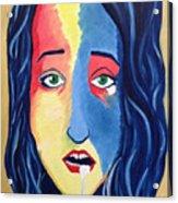 Facial Or Woman With Green Eyes Acrylic Print