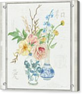 Faded Glory Chinoiserie - Floral Still Life 2 Blush Gold Cream Acrylic Print