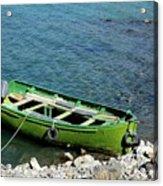 Faded Green Yellow Motor Power Boat Parked At Satpara Lake Pakistan Acrylic Print