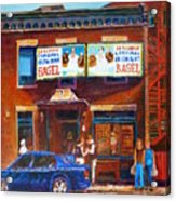 Fairmount Bagel With Blue Car  Acrylic Print