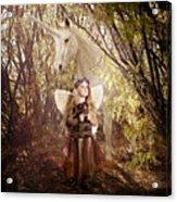 Fairy And Unicorn Acrylic Print by Cindy Singleton