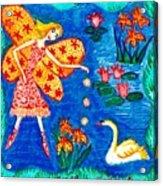 Fairy Feeding Swan Acrylic Print