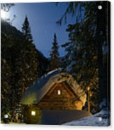 Fairy House In The Forest Moonlit Winter Night Acrylic Print