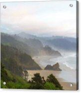 Falcon And Silver Point At Oregon Coast Acrylic Print