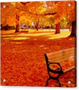 Fall Bench  Newburyport Ma Acrylic Print