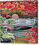 Fall Bridge In Manito Park Acrylic Print by Carol Groenen