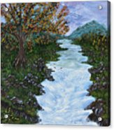 Fall By The River Acrylic Print
