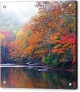 Fall Color Williams River Mirror Image Acrylic Print by Thomas R Fletcher