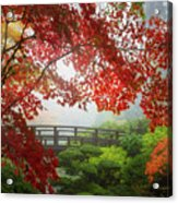 Fall Colors By The Moon Bridge Acrylic Print
