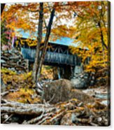 Fall Colors Over The Flume Gorge Covered Bridge Acrylic Print