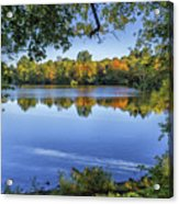 Fall Foliage At Turners Pond In Milton Massachusetts Acrylic Print
