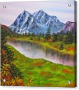 Fall In Mountains Landscape Oil Painting Acrylic Print