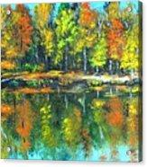 Fall Landscape Acrylic Painting Framed Acrylic Print