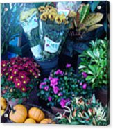 Fall Market Scene In Watercolor Acrylic Print