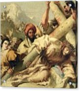 Fall On The Way To Calvary Acrylic Print by G Tiepolo