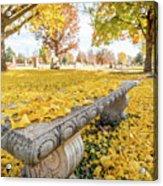 Fall Park Bench Acrylic Print