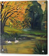 Fall Pond With Swans Acrylic Print