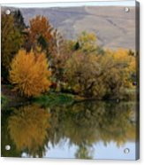 Fall Reflection Below The Hills In Prosser Acrylic Print