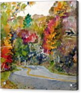 Fall Road - Watercolor Acrylic Print