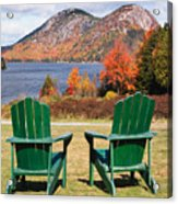 Fall Scenic With  Adirondack Chairs At Jordan Pond Acrylic Print