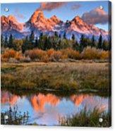 Fall Teton Tip Reflections Acrylic Print