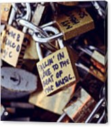 Falling In Love To The Beat Of The Music, Love Lock Acrylic Print
