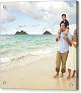 Family At Lanikai I Acrylic Print by Brandon Tabiolo - Printscapes
