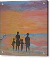 Family At Sunset 2 Acrylic Print