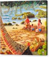Family Day At Jobos Beach Acrylic Print by Milagros Palmieri