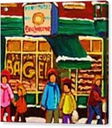 Family  Fun At St. Viateur Bagel Acrylic Print